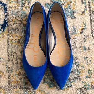 Blue suede Sam Edelman pointy toe flats